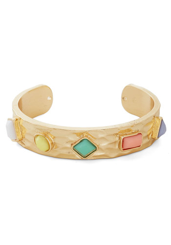A Treat in Every Wear Bracelet - Multi, Gold, Solid, Pastel, Rhinestones