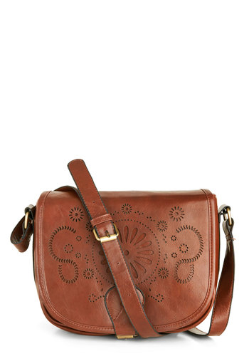Room and Bordeaux Bag in Cognac - Faux Leather, Brown, Solid, Cutout, Casual, Rustic, Variation, Folk Art
