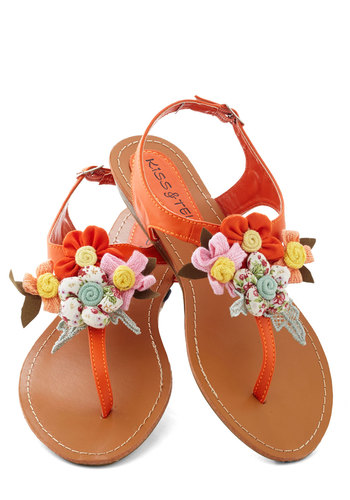 Crafty Afternoon Sandal - Orange, Multi, Flower, Flat, Low, Faux Leather, Casual, Handmade & DIY, Summer, Variation