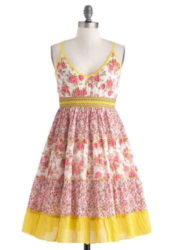 Country Rose Dress - Cotton, Mid-length, Yellow, Pink, White, Floral, Casual, Empire, Spaghetti Straps, V Neck, Fit & Flare, Summer