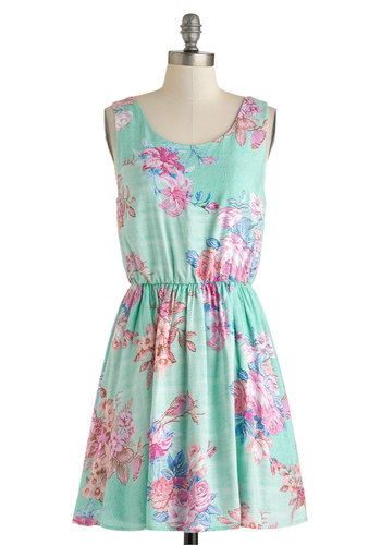 Beachfront Bungalow Dress - Mid-length, Mint, Blue, Pink, Floral, Cutout, Casual, A-line, Tank top (2 thick straps), Scoop, Spring, Summer