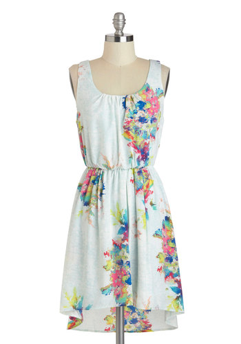 Burst of Color Dress - Short, Blue, Multi, Floral, Casual, A-line, Tank top (2 thick straps), Scoop, High-Low Hem, Spring, Summer