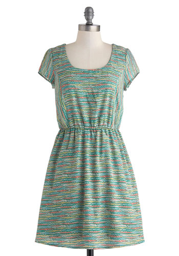 Above the Gardens Dress - Mid-length, Green, Multi, Floral, Cutout, Casual, A-line, Scoop, Short Sleeves, Travel, Summer