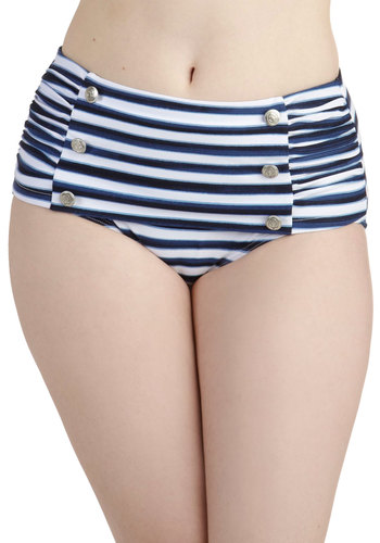 Sweet Skygazing Swimsuit Bottom by Seafolly - Blue, Stripes, Buttons, Ruching, Nautical, International Designer, White, Beach/Resort, Rockabilly, Pinup, Vintage Inspired, 40s, 50s, High Waist, Summer