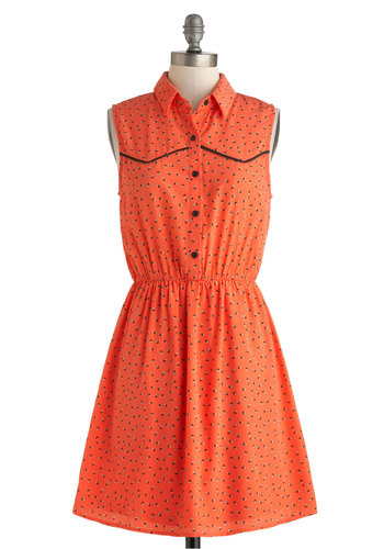 School of Frock Dress - Mid-length, Coral, Green, Black, Print, Buttons, Casual, A-line, Sleeveless, Collared, Summer