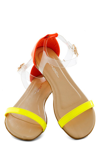 Band of Bold Sandal - Yellow, Orange, Solid, Flat, Summer