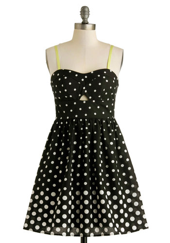 Seize the Date Dress - Cotton, Black, Yellow, White, Polka Dots, Cutout, Party, Fit & Flare, Spaghetti Straps, Sweetheart, Spring, Summer