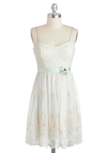 Accomplish and Go Dress - Cream, Blue, Flower, Lace, Fairytale, Spaghetti Straps, Spring, Sweetheart, Pastel, Daytime Party, Belted, Graduation, Bride, Summer