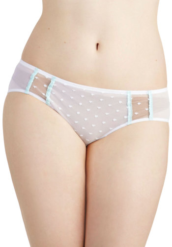 Daytime Whisper Undies - White, Blue, Solid, Bows, Cutout, Trim, Wedding, Pastel, Sheer, Boudoir