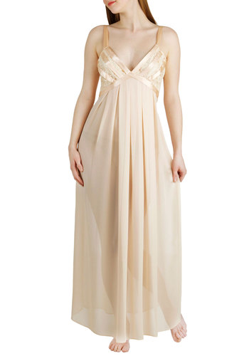 Love Ballad Lullaby Nightgown - Solid, Lace, Pinup, Vintage Inspired, 30s, 40s, 50s, Luxe, Spaghetti Straps, Long, Cream, V Neck