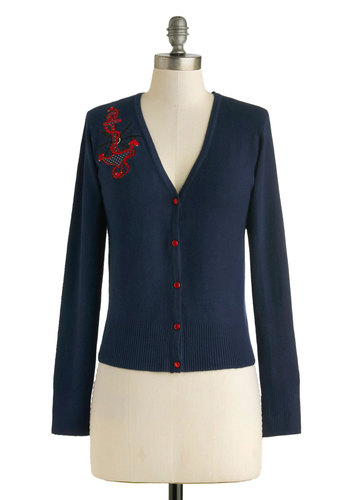 Right Aweigh Cardigan - Short, Blue, Red, Solid, Buttons, Embroidery, Casual, Nautical, Rockabilly, Pinup, Long Sleeve, Winter, Top Rated