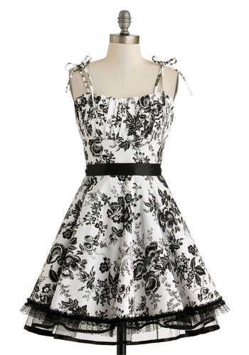 Frill and Lace Dress - Cotton, Mid-length, Black, Floral, Belted, Daytime Party, Fit & Flare, Spaghetti Straps, Sweetheart, Fairytale, White