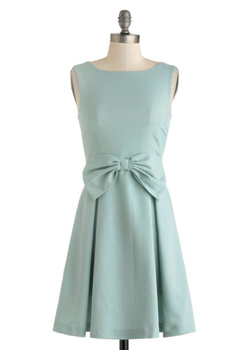 Learn As You Bow Dress - Solid, Bows, Pastel, Sleeveless, Mid-length, Mint, Pleats, Wedding, Party, Bridesmaid, A-line, Boat, Spring