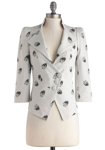 A Heart Skull of Love Blazer - Black, Buttons, Long Sleeve, Short, White, Collared, Novelty Print, Work, Urban, Spring, 1