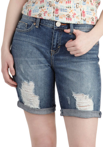 Tried And True Shorts by Dittos - Blue, Solid, Pockets, Casual, Denim, Cotton, Vintage Inspired, Summer, High Waist