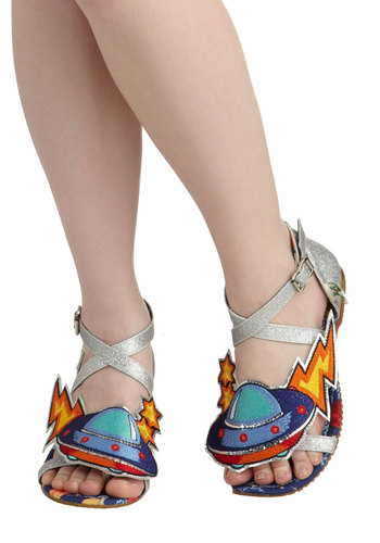 Martian, Martian, Martian Sandal by Miss L Fire - Multi, Novelty Print, Quirky, Flat, Statement, International Designer, Silver, Casual, Summer