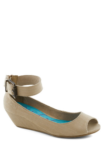 Keep it Casual Wedge in Sand - Tan, Solid, Wedge, Peep Toe, Mid, Work, Daytime Party