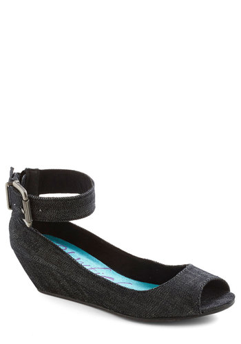 Keep it Casual Wedge in Denim - Black, Solid, Wedge, Peep Toe, Mid, Denim, Variation