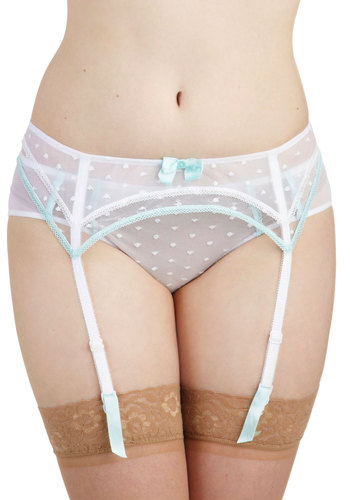 Daytime Whisper Garter Belt - White, Blue, Solid, Bows, Trim, Wedding, Pastel, Sheer, Boudoir
