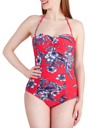 Island Gathering One Piece by Seafolly - Red, Floral, International Designer, Blue, White, Ruching, Beach/Resort, Rockabilly, Pinup, Vintage Inspired, 30s, 40s, 50s, Strapless, Halter, Summer, Sweetheart