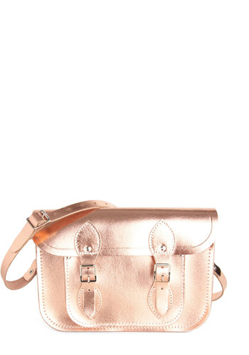 "Cambridge Satchel Upwardly Mobile Satchel in Rose Gold - 11"" by The Cambridge Satchel Company  - Pink, Solid, Scholastic/Collegiate, Leather, International Designer, Graduation"