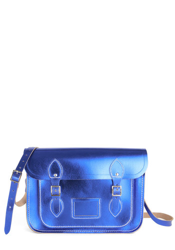 "Cambridge Satchel Company Bag in Metallic Blue - 13"" by The Cambridge Satchel Company  - Blue, Solid, Scholastic/Collegiate, Buckles, International Designer, Graduation"