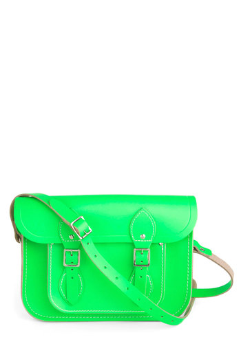 "Cambridge Satchel Company Bag in Neon Green - 11"" by The Cambridge Satchel Company  - Green, Solid, Scholastic/Collegiate, Leather, Neon, Buckles, International Designer, Graduation, Work"