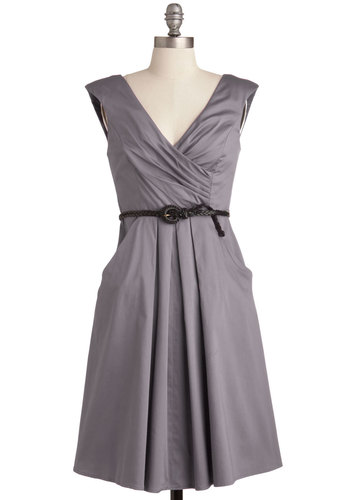 Occasion by Me Dress in Charcoal - Cotton, Mid-length, Variation, Grey, Solid, Pockets, Belted, Ruching, Casual, A-line, V Neck, Cap Sleeves, Work