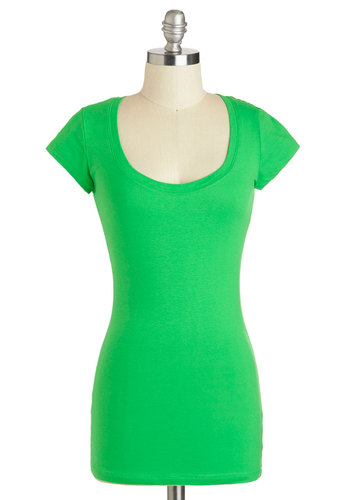 Learn the Basics Top in Lime - Mid-length, Green, Solid, Casual, Minimal, Short Sleeves, Jersey, Cotton, Variation, Scoop, Travel, Basic, Green, Short Sleeve