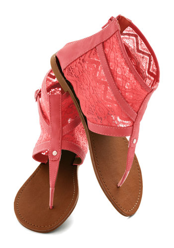 End Of The Road Trip Sandal in Coral - Coral, Solid, Lace, Boho, Summer, Flat, Casual, Daytime Party, Pastel, Variation, Travel