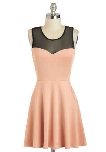 Blush Hour Dress - Short, Pink, Black, Backless, Bows, Party, A-line, Racerback, Scoop, Pastel, Sheer