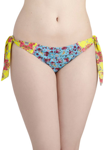 I Beg Your Garden Swimsuit Bottom - Multi, Summer, International Designer, Yellow, Blue, Floral, Novelty Print, Beach/Resort
