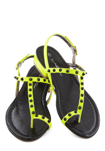Next in Line Sandal - Yellow, Black, Solid, Studs, 80s, Low, Summer
