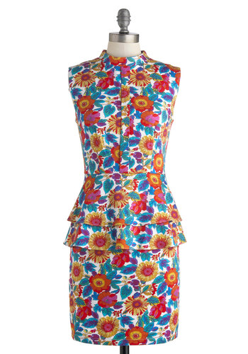 The Flower of Love Dress by Pink Martini - Cotton, Mid-length, Floral, Exposed zipper, Tiered, Daytime Party, Shift, Sleeveless, Vintage Inspired, 60s, 70s, White, Blue, Pink, Red, Orange, Multi, Work