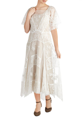 At Great Lengths Dress - Long, White, Solid, Embroidery, Lace, Bride, A-line, Short Sleeves, Handkerchief, Vintage Inspired, Wedding, Maxi