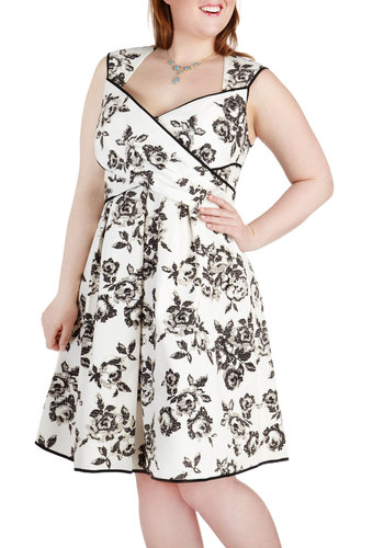 Wrapped in Joy Dress in Black - Plus Size - Black, Floral, Cutout, Daytime Party, Empire, Sleeveless, Wedding, French / Victorian, A-line, Cotton, White
