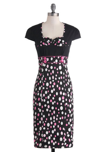 Effervescent Confection Dress - Cotton, Long, Black, Pink, White, Polka Dots, Buttons, Party, Sheath / Shift, Cap Sleeves, Cocktail, Rockabilly, Pinup, Vintage Inspired, 40s, 50s, Sweetheart