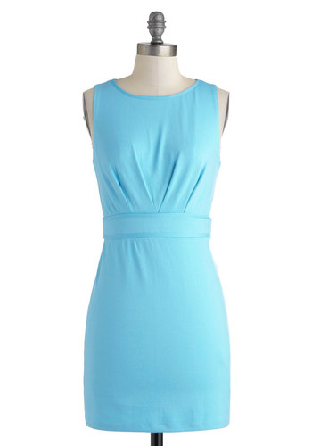 Colleague of Their Own Dress - Pastel, Sheer, Short, Blue, Solid, Lace, Party, Sheath / Shift, Sleeveless, Scoop, Girls Night Out, Mod, Summer