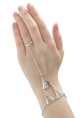 Tri and True Bracelet - Silver, Solid, Cutout, Boho, Silver