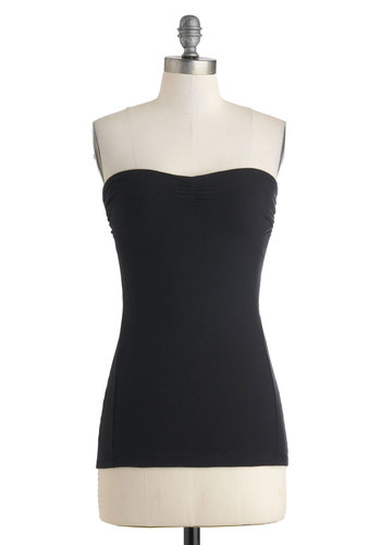 Versatile Style Top in Black - Short, Black, Solid, Casual, Tube, Sweetheart, Minimal, Jersey, Cotton, Variation, Summer