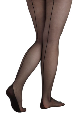 Pin-Up to You Tights - Black, Solid, Sheer, International Designer, Film Noir, Pinup, Vintage Inspired, 30s, 40s, 50s
