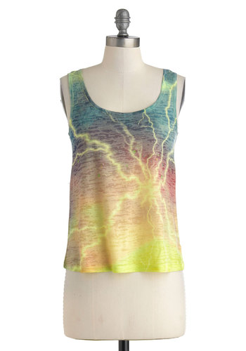 Rock the Bolt Top - Multi, Orange, Yellow, Blue, Casual, Tank top (2 thick straps), Novelty Print, Sheer, Scoop, Summer, Travel, Mid-length