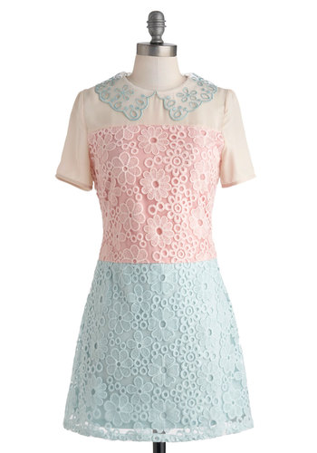 Treat Me Dress - Pastel, Short, Blue, Pink, Tan / Cream, Crochet, Shift, Short Sleeves, Collared, Daytime Party, Vintage Inspired, 60s, Colorblocking, Sheer, Summer
