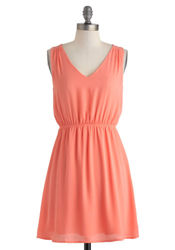 Glam Go-To Dress - Mid-length, Coral, Solid, Bows, Casual, A-line, Sleeveless, V Neck, Minimal