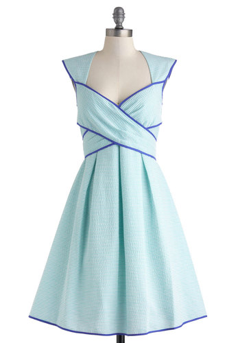 Side Bay Side Dress in Sea - Mid-length, Blue, Stripes, Cutout, Daytime Party, Fit & Flare, Sleeveless, Sweetheart, Summer, Variation