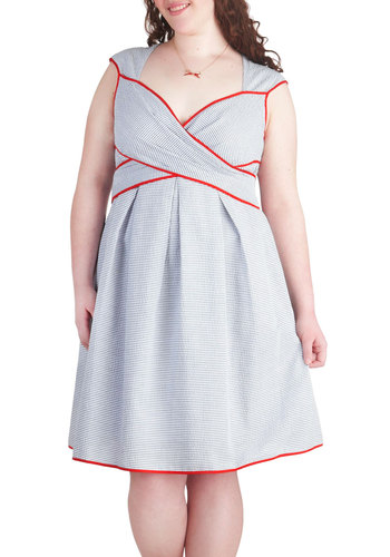 Side Bay Side Dress in Buoy - Plus Size - Blue, White, Stripes, Cutout, Pleats, Trim, Daytime Party, A-line, Red, Casual, Nautical, Spring, Summer, Sweetheart
