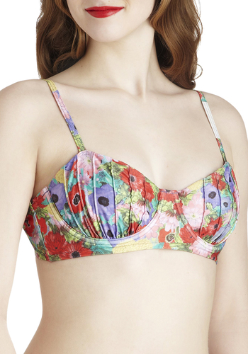 Poppy Rock Swimsuit Top by Mink Pink - Multi, Floral, Summer, International Designer, Beach/Resort, Red, Green, Blue, Purple