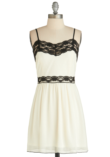 Rock Cello Dress - Short, White, Black, Lace, Party, A-line, Spaghetti Straps, Sweetheart, Summer