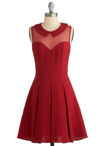 Served on Skates Dress - Red, Solid, Peter Pan Collar, Pleats, Party, A-line, Sleeveless, Collared, Mid-length