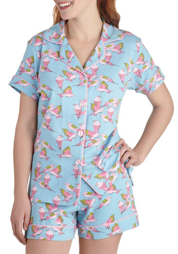 With Dreams to Sparrow Pajama Set - Blue, Green, Pink, Print with Animals, Trim, Pastel, Short Sleeves, Jersey, Cotton